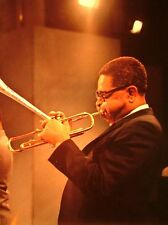 DIZZY GILLESPIE clipping Jazz bandleader live color photo custom-built trumpet