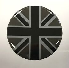 UNION JACK FLAG Sticker 50mm DIAMETER BLACK & 2 TONE GREY - HIGH GLOSS DOMED GEL
