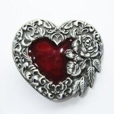 Western Rose Red Heart Fashion Metal Belt Buckle