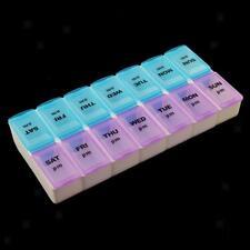 7 Day 14 Slots Pill Storage Box Week Medicine Organizer AM PM Container Case