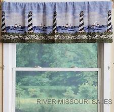 "Nautical Lighthouses, Sailboats, Blue Sky Tapestry Window Valance, 54"" x 15""-New"