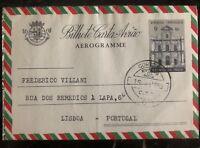1955 Goa Portuguese India Air Letter Aerogramme Cover To Lisbon Portugal Rice