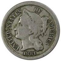 1881 Three Cent Piece VG Very Good Nickel 3c US Type Coin Collectible