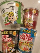 4 Nissin Cup Instant Noodles Seafood, Spicy Crab. Chicken & Beef HK version