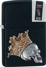 Zippo 29100 skull with crown emblem black matte full size Lighter + FLINT PACK