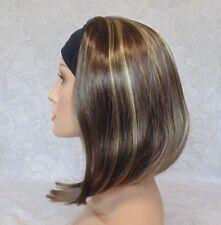 Short Straight Silky Brown Highlighted Bob Headband Wig - 9297