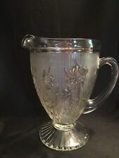 "Vintage Jeannette Glass Iris & Herringbone 56 Ounce Pitcher Standing 9"" Tall"