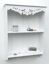 Pretty WHITE shabby / chic Carved Shelf / Shelving unit WALL UNIT