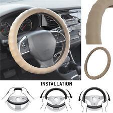 Car Steering Wheel Cover BDK Beige Genuine Leather Non-Slip Grip Auto Truck SUV