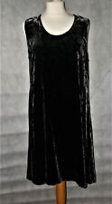 EILEEN FISHER black silk blend crushed velvet a line dress M UK 12