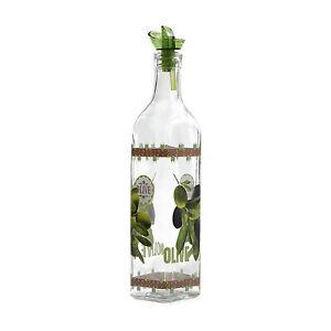 Grant Howard 16 Ounce Olive Design Glass Oil Vinegar Cruet Bottle w/ Ergo Pourer