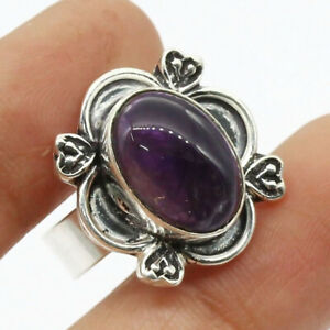 Amethyst 925 Silver Plated Handmade Gemstone Ring of US Size 8.5 Ethnic Gift