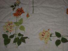"Vtg Fall Rose Linen Print Tablecloth 49"" X 46""!"