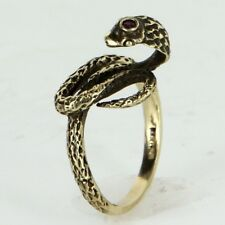 Cobra Snake Ring Vintage 14k Yellow Gold Ruby Estate Fine Jewelry Heirloom