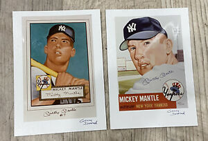 (2) Gerry Dvorak Signed Mickey Mantle 1952 & 1953 Topps Baseball Card Images