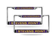 Wisc Stevens Point Pointers Chrome Metal (2) Laser Cut License Plate Frame Set