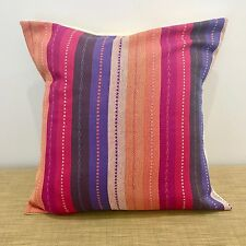"18"" (45cm) Mexican Fabric COTTON STRIPED Cushion Pillow Cover. Made Australia"