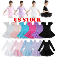 US Girls Kids Ballet Dress Gymnastics Sleeved Leotard Dance Tutu Skirt Dancewear