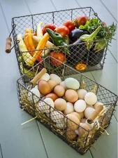 FARMHOUSE WIRE RECTANGLE BIN BASKETS~Picking Baskets~Set of Two