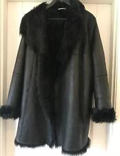 Ladies SHEARLING DESIGNER COAT NICHOLE FAHI BLACK Size 14 Leather Outer