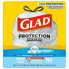 New Glad Tall Kitchen Drawstring Trash Bags OdorShield 13 Gallon White Trash Bag