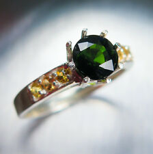 1.05cts Natural Chrome Green tourmaline & citrines 925 Sterling Silver ring