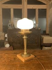 Edwardian Solid Brass Table Lamp With Opaline Glass Shade, Antique Light Oak