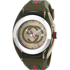New Gucci YA137106 Sync Khaki Silicone Strap Unisex Watch