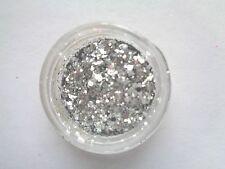 3g POT NSI  PRE-MIXED GLITTER ACRYLIC POWDER SILVER   MULTI SIZE  naill art mix