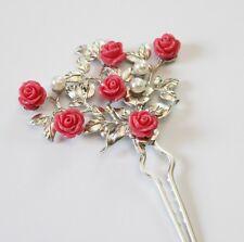 HANBOK Binyeo Hairpin Pink Rose Ornamental Stick band dress Korean Hair pin