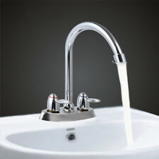 2 Handle/Hole High Spout Kitchen Bathroom Faucet Sink Water Mixer Tap Chrome