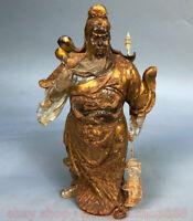 "8.8 ""Ancien cristal chinois doré support Guan Gong Yu guerrier dieu épée Statue"