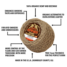 Humboldt Hemp Wick® 250 ft - 1mm - Organic HempWick Lighter - Hemp and Beeswax