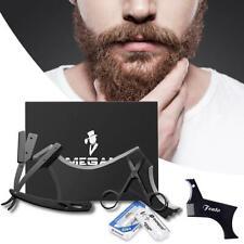 Black Stainless Steel Razor Scissors Mustache Shaving Blade Set Shaving Tools