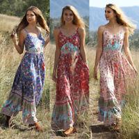 Women Holiday Boho Floral Maxi Long Strap Spaghetti Beach Dress Summer Dresses