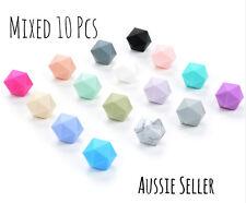 MIXED 10x 17mm Icosahedron silicone beads BPA free baby teething necklace sample
