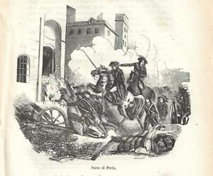 Stampa antica PAVIA saccheggiata da NAPOLEONE BONAPARTE 1858 Antique print