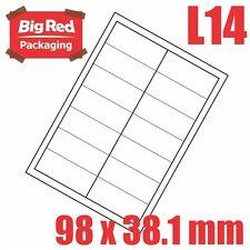 1400 Mailing address Labels 100 sheets 14 per page for laser & Inkjet 98x38.1mm