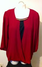 Metaphor Burgundy Red Envy Layered Necklace Blouse Top Size XL NWT Retail $34