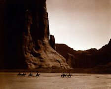 NAVAJO RIDERS ON HORSEBACK CANYON DE CHELLY 8X10 PHOTO EDWARD S. CURTIS 1904