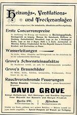 David Grove Berlin HEIZUNGS-VENTILATOREN-TROCKENANLAGEN Historische Reklame 1896