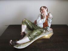 Vintage Works Of Art Italy Handpainted Porcelain Figurine sitting Man Drunkard