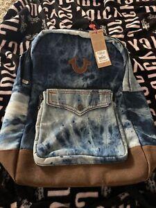 True Religion Washed Indigo Stitched Logo Backpack Laptop Pocket