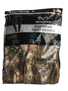 Men's RealTree Camouflage Heavyweight Fleece Thermal Bottoms— Size Medium