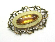 """Vintage 10K Yellow Gold Pin w Citrine and Enamel  2.96 grams 1 1/8"""" lot 35d9"""