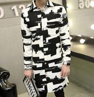 Mens long Slim Korean Spring Coat Jackets Outwear Floral Fashion New Black White