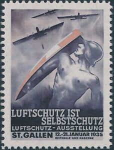 Stamp Replica Label Germany 0368 WWII Luftschutz German Airforce Bombers MNH