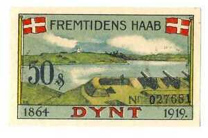Denmark City Dynt Dünth Plebiscit Schleswig-Holstein Notgeld 50 Pfennig 1919 UNC