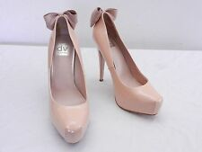 DV DOLCE VITA Womens 9 Nude Patent Leather Rear Bow Stiletto Platform High Heels