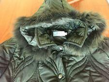 Giaccone lungo con cappuccio pelliccia vera da donna color verde scuro tg 52 XL